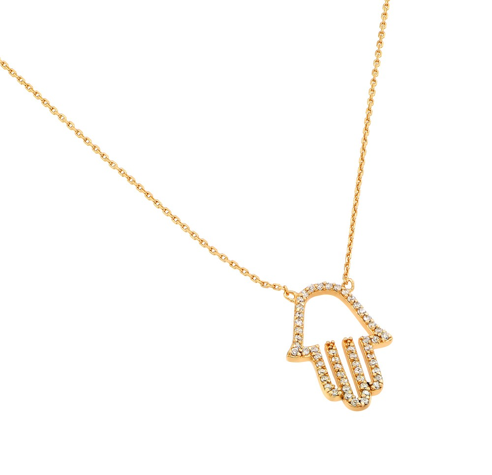 "Sterling Silver ""Hamsa"" Necklace Yellow Gold Plated"